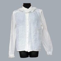 Lovely Irish Linen Blouse Delicate Lace Ireland