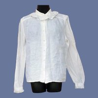 Lovely Irish Linen Blouse with Lace  Ireland