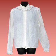Lovely Irish Linen Blouse with Delicate Lace Ireland