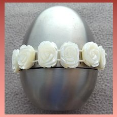 Mother of Pearl Bracelet Carved Roses Small - Medium Wedding