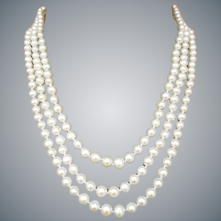 6f45e2b8d3f23 Triple Strand Real Pearl Necklace 14k Gold Clasp