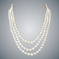 Three Strand Real Pearl Necklace 14k Gold Clasp