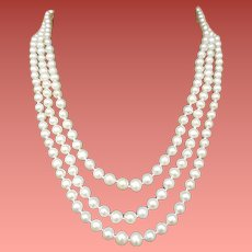 Triple Strand Real Pearl Necklace 14k Gold Clasp