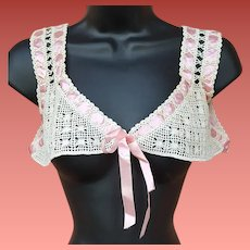 Antique Crochet Nightgown Bodice Pink Ribbon M - L - XL