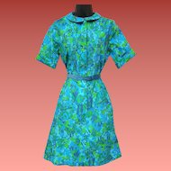 1970s Shirtwaist Dress Teal Green Small - Medium