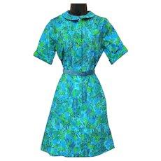 1970s Shirtwaist Dress Teal Green Small - Medium