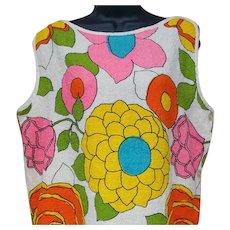 1960s Terry Cloth Dress Wild Print Summer Pool Beach Medium - Large