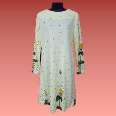 Vintage Alfred Shaheen Dress Roses Small - Medium