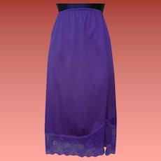 Vintage Half Slip Royal Purple Nylon Deep Lace Hem Medium