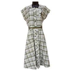 1940s Cotton Dress Classic House Wife Fun Medium - Large