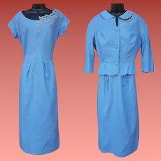 1950s Linen Suit Dress and Jacket Athena Hollywood Medium - Large