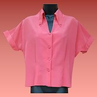 Late 1940s Coral Rayon Blouse Size Large Very Hard To Find