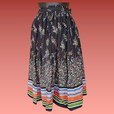 1940s Rayon Skirt Beautiful Border Print Size Small