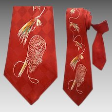 1950s Wide Necktie Hand Painted Fly Fishing
