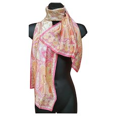 Gorgeous Silk Scarf Pink Persian Print Extra Long