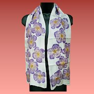 Silk Scarf Hand Painted Purple Flowers Long Narrow