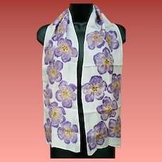 Silk Scarf Hand Painted Purple Flowers Long Narrow