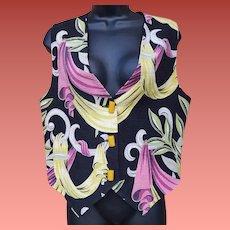 Gorgeous Barkcloth Vest 5 Bakelite Buttons Size Extra Large