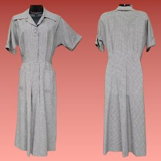 1950s Dress Navy Blue White Hounds Tooth Size Large