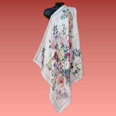 Silk Scarf Extra Large Pink and Lush Floral Japan