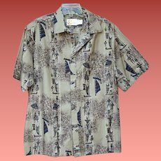 1960s Vintage Iolani Hawaiian Shirt Men's Aloha Size Large