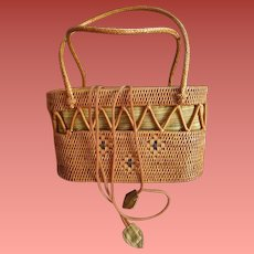 Vintage Hand Woven Summer Wicker Purse Tropical Beach Vacation