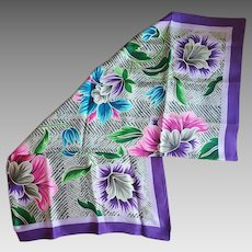 Gorgeous Silk Scarf Oscar de La Renta Large Size