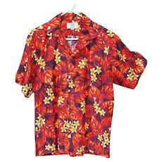1960s Bright Aloha Hawaiian Shirt Cotton Size Large Ui-MaiKai