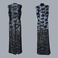 1960s Black Beaded Sequin Dress Floor Length Bust 36