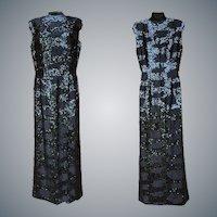 1960s Black Beaded Sequin Dress Floor Length Bust 36
