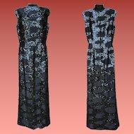 1960s Black Beaded Sequin Dress Floor Length Gown Bust 36