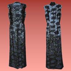 1960s Black Beaded Sequin Dress Floor Length Gown Bust 36