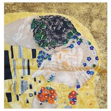 Silk Scarf from The Kiss Painting by Gustav Klimt