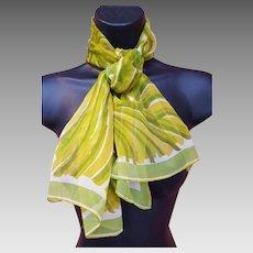 Silk Chiffon Scarf Vintage Vera Neumann Greens