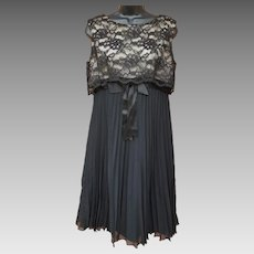 1960s Cocktail Party Dress Black Lace Sheer Accordion