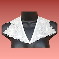 Vintage White Cotton Collar Satin Embroidery Unused