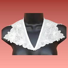 Vintage White Cotton Collar Satin Embroidery Unused