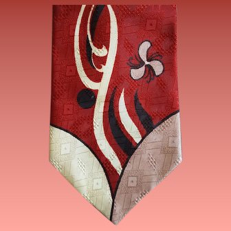 Early 1960s Men's Neck Tie Mid Century Modern Abstract