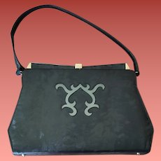Mid Century Modern Purse Black Vinyl Faux Pony Handbag