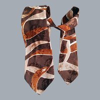 1930s - 1940s Damask Necktie Abstract Browns