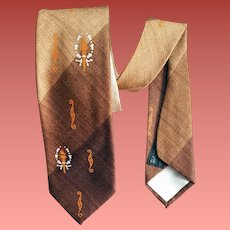 Narrow 1960s Men's Necktie Shades Ombre Brown