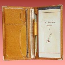 1960s Secretary Wallet Pigskin Leather Unused