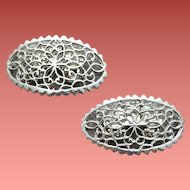 Vintage Musi Shoe Clips Silver Tone Filigree