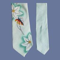 1960s Men's Vintage Rayon Necktie Hand Painted