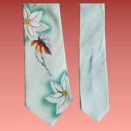 1960s Men's Vintage Rayon Necktie Hand Painted