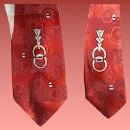 1960s Skinny Necktie Damask Silver Red Mid Century