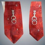1960s Skinny Necktie Damask Silver Red Mid Century