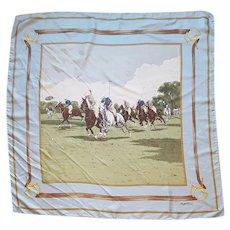 Ralph Lauren Silk Scarf Polo Scene Classic 34 X 34 inches