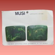 Bakelite Shoe Clips 1960s by Musi Mint on Card