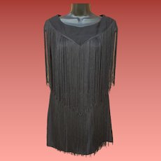 1960s Fringed Flapper Dress Young Edwardian  Small